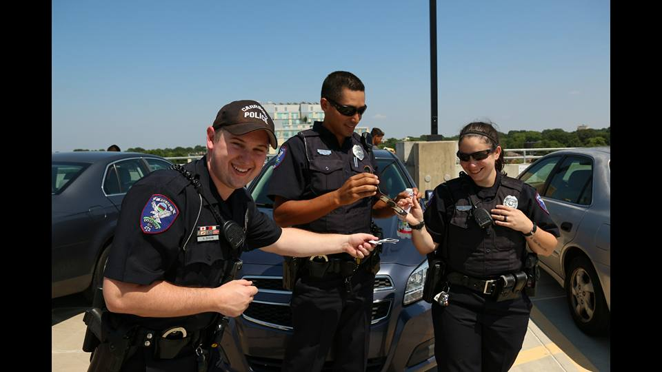 Officers watching the Solar Eclipse.