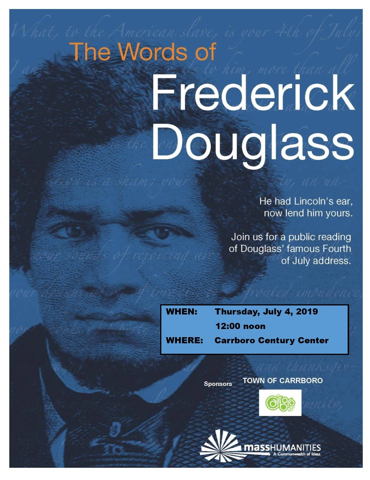 "6th Annual Community Reading of Frederick Douglass' essay ""The Meaning of the Fourth of July for the"