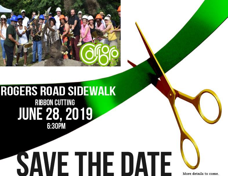 Rogers Road Sidewalk Ribbon Cutting Save the Date 2019
